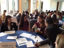Students and alumni at a Filene Center sponsored networking event