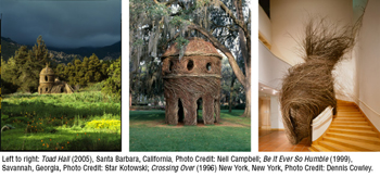 Collage of Patrick Dougherty's stickwork sculptures