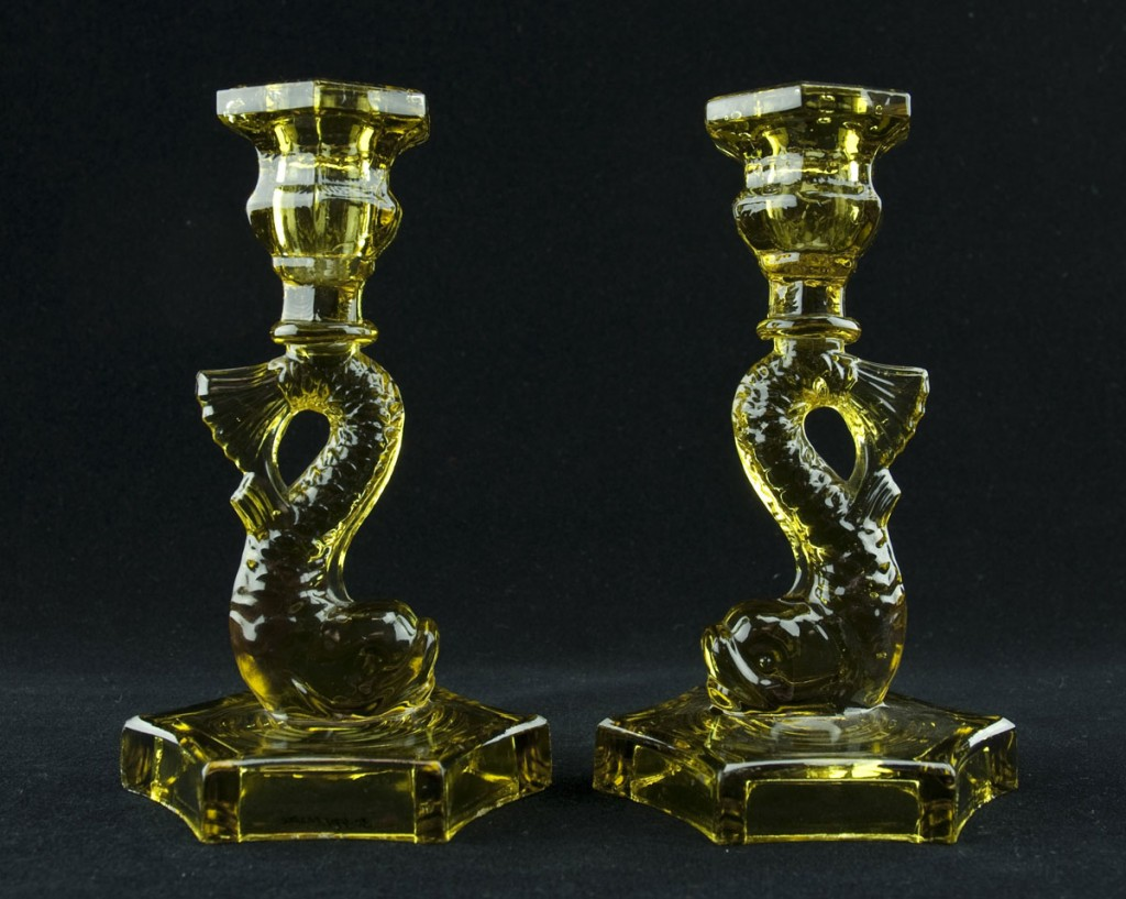 Green Glass Dolphin Candlesticks (353937)