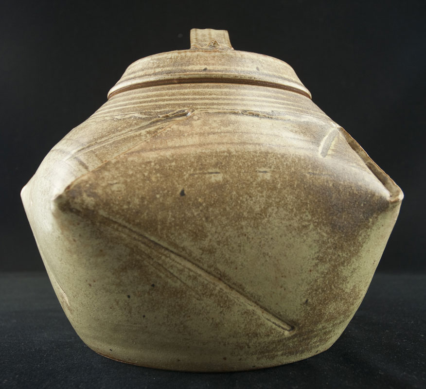 Five Sided Gray-Green Pot with Lid (358023)