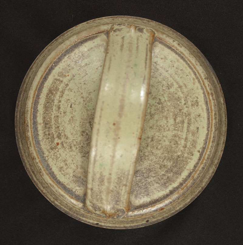 Five Sided Gray-Green Pot with Lid (358026)
