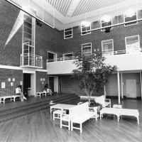 Interior of Balfour-Hood Center. Evan Massar. Photograph. 1986.
