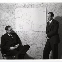 Hornbostel and Bennett with their Winning Design. Unidentified Photographer. Photograph. 20.5 x 25.5 cm. 1938.
