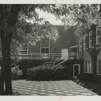 Plimpton Hall Across the Courtyard. Unidentified Photographer. Photograph. 33.5 x 26.5 cm. ca 1940s.
