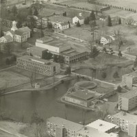 Aerial View of Lower Campus: Chapman Campus. Unidentified Photographer. Photograph. 20 x 25 cm. 1964.