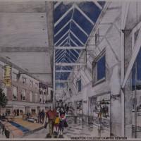 Rendering of Wheaton College Campus Center. Unidentified Artist. Pencil, paper. 40.5 50 cm. 1984.