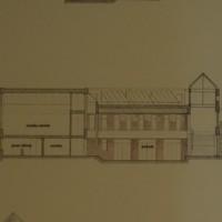 Balfour-Hood Center: Cross Sections. Bastille-Neiley/Amsler Hagenah MacLean. Paper, ink, foamcore. 58 x 90 cm. 1984.