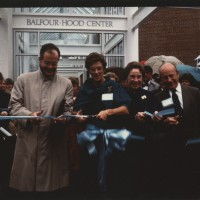 Balfour-Hood Center Dedication: President Alice F. Emerson and Emily Hood (Class of 1953). Unidentified Photographer. Photograph. 12 x 18 cm. 1986.