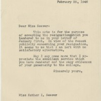 Letter Accepting Seaver's Resignation. A. Howard Meneely Paper, ink. 28 February 1946.