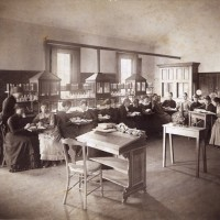 Students in a botany class, 1885