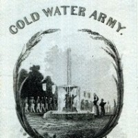 A ribbon for the Norton Temperance Society's Cold Water Army.