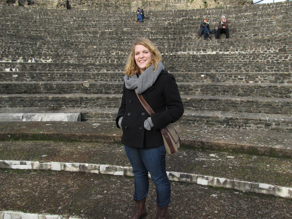 Libby Fifer in the ancient theatre of Fourvière, Lyon