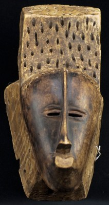 One of the African Masks cleaned by student conservators. African mask, unidentified culture/country. Gift of Roger G. Wilson in memory of his wife, Ambassador Giovinella Gonthier, Class of 1972.