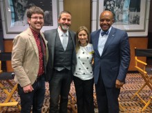 Professor Patrick Johnson, Ken Kristensen '92, Tracy Abrams Rosen '92 and President Crutcher at a panel discussion titled