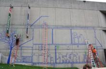 Making mural at Worcester Art Museum 2011 (me in orange)