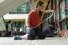 Me taping with highschool art students at Hong Kong high school