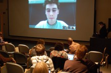 Students watch Liam Grace-Flood '16 on the webcast.