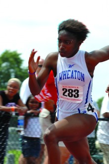Amber James '04, pictured here in the 2004 NCAA Division III track and field championships.