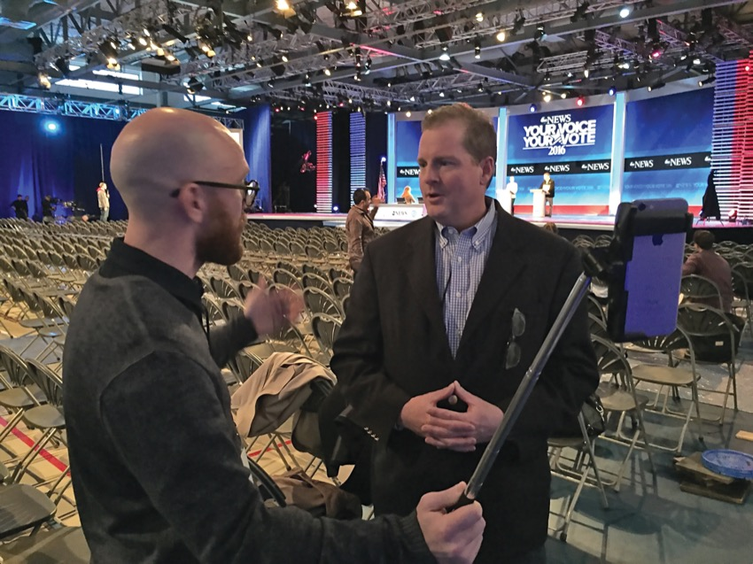 Neil Levesque '93 talks with ABC News reporter Brad Mielke.