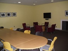 Balfour-Hood Campus Center, New Yellow Parlor, a small meeting or gathering space with media.