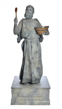 Actor from TEN31 Productions poses as statue