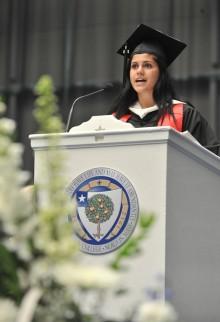 Ashley Vertente, President of the Class of 2014, speaks to her fellow graduates.