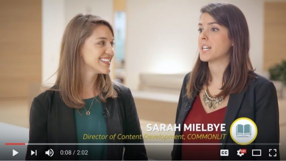 Sarah Mielbye '09 talks about CommonLit with co-founder Michelle Brown in an AT&T commercial