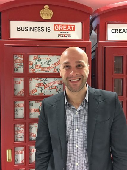 Padric Gleason '10 in front of one of London's iconic red telephone booths