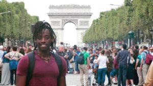 Ibrahim Nshimirimana on the Champs-Elysées