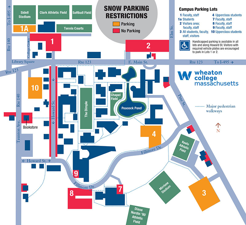 Wheaton College Map Weather related parking restrictions   Wheaton College Massachusetts Wheaton College Map