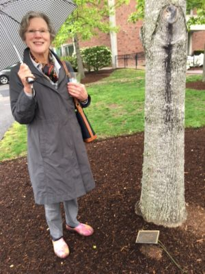 Nancy Robbins Rea next to the class tree