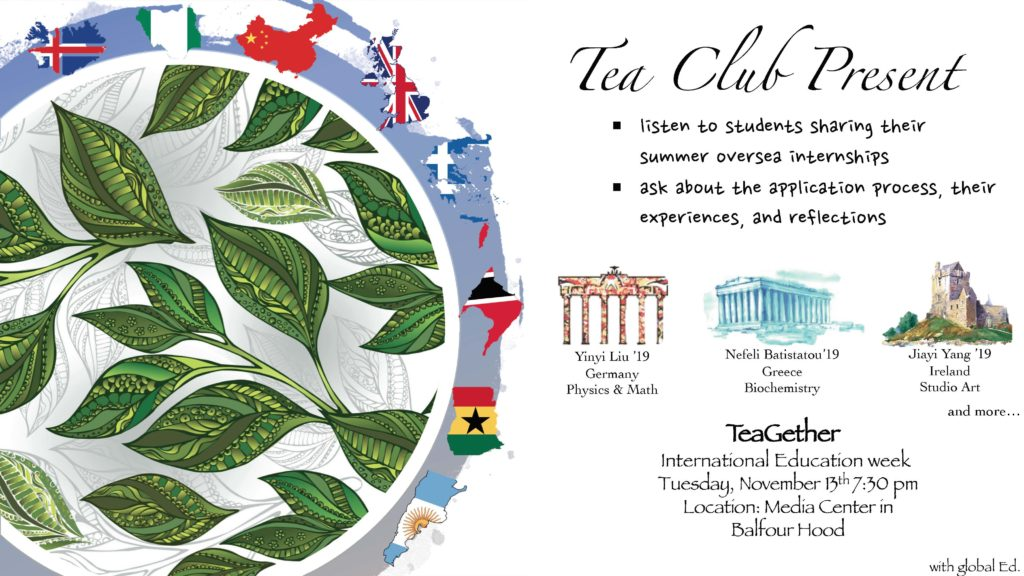 There are leaves surrounded by the countries being represented on the left. On the right, it lists the students, where they went and their major. It includes the time and location of the event.