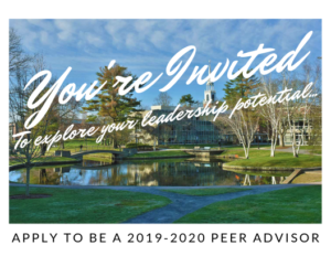 "Postcard saying ""You're invited to explore your leadership potential"" apply to be a 2019-2020 peer advisor"
