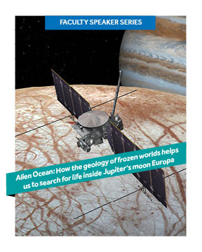Poster with image of Jupiter in the background, the Europa Clipper spacecraft in the foreground, superimposed with title of a talk.
