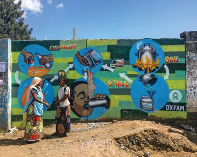 A mural in Zambia promoting practices that make water safe to drink