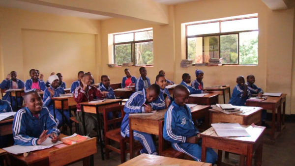 A Tanzanian classroom where Wheaton students taught English