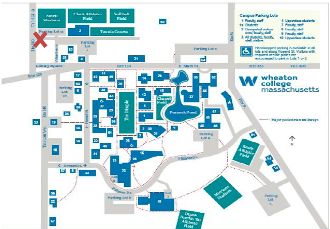 A map of Wheaton College. There is a red X in the top left corner indicating the location of the FLTA House