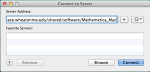 Screenshot of connecting to server on Mac