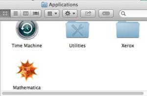 Screenshot of Mathematica in Applications folder on Mac
