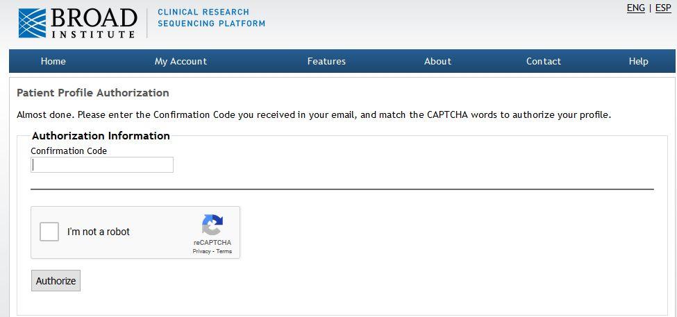 Broad Testing Site Authorization Code Screenshot
