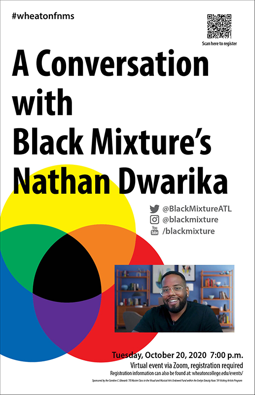 This poster advertises a virtual event with Visiting Artist Nathan Dwarika taking place Ovtober 20 at 7pm on Zoom.
