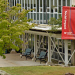 Campus photo of banner with the words social impact
