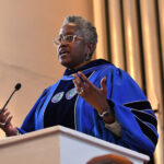Photo of Provost Renee White in Cole chapel
