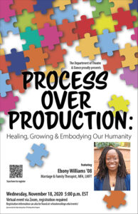 Poster for event with Visiting Artist Ebony Williams '08 entitled Process of Production taking place on Wednesday, November 18, 2020 at 5pm EST