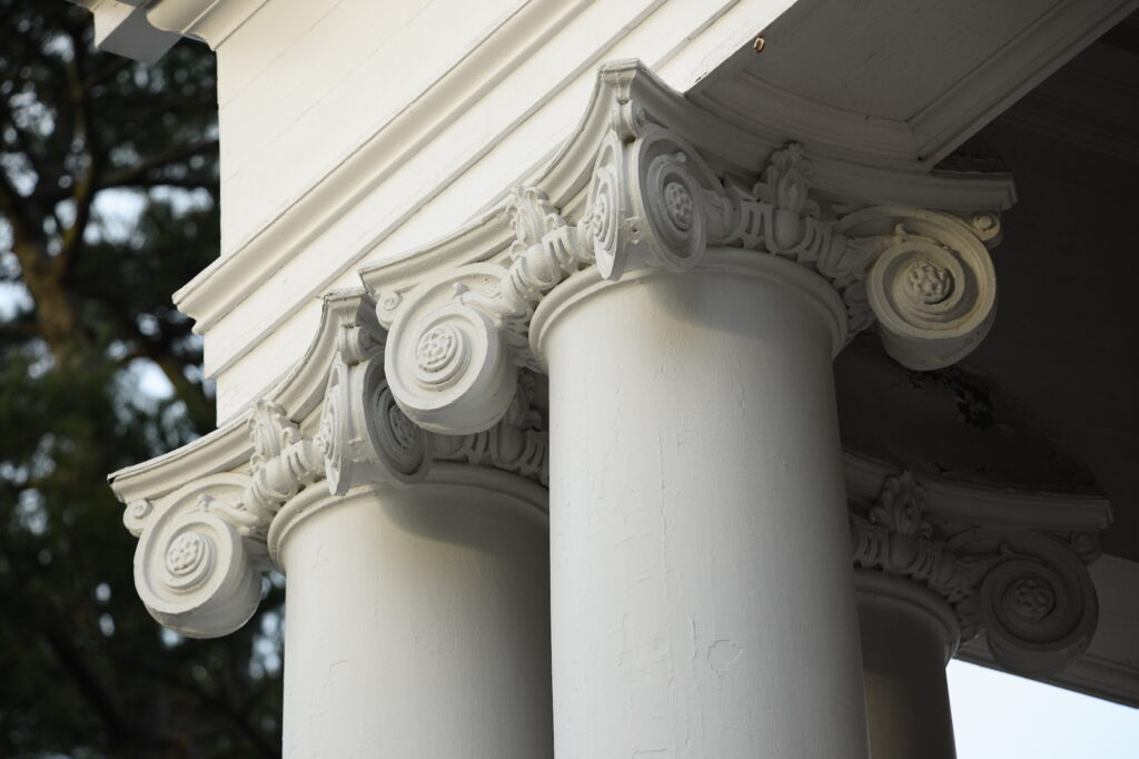 Architectural detail of decroative column on campus