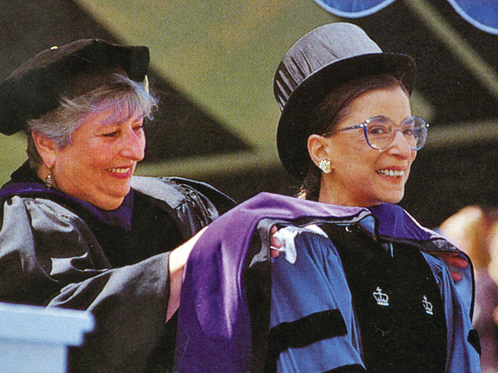 Photo of Associate Justice of the Supreme Court Ruth Bader Ginsburg, she received an honorary degree and delivered the keynote address at Wheaton's 162nd Commencement in 1997