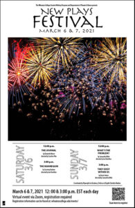 Poster advertising the 2021 New Plays Festival taking place on March 6 & 7 at 12pm and 3pm each day. The image features fireworks.