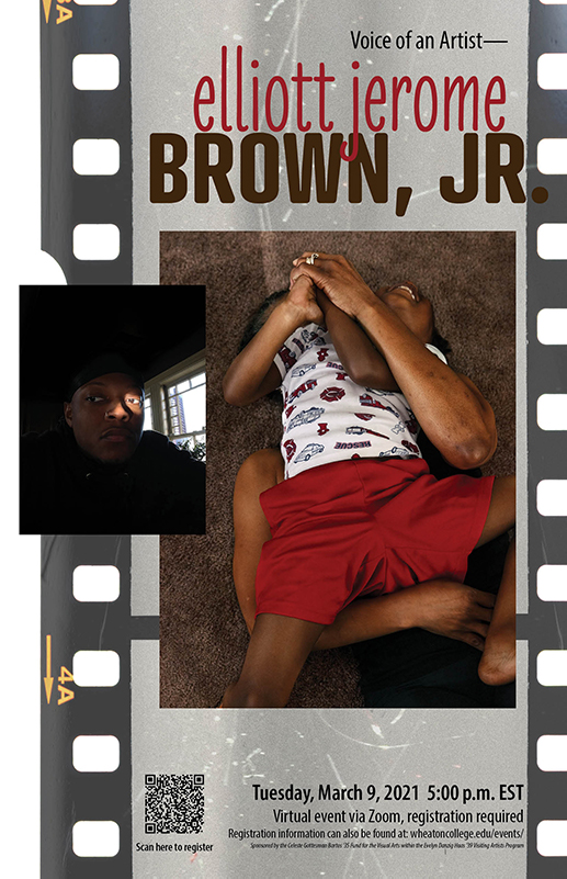 A poster advertising an artist talk by Elliott Jerome Brown, Jr. on March 9th at 5pm. Images include a headshot of Brown and one of his photographs.