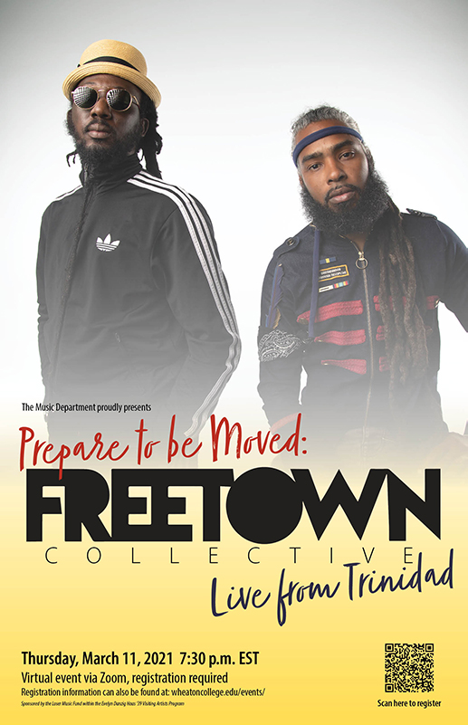 Poster advertising a virtual concert by Freetown Collective on Thursday, March 11 at 7:30 p.m. EST. Image features Muhammad Muwakil and Lou Lyons who head group.
