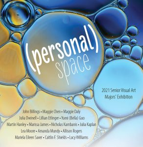 Blue and yellow bubbles with the exhibition title (personal) space and the names of the participants